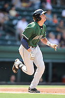 Third baseman Ryder Jones (15) of the Augusta GreenJackets in a game against the Greenville Drive on Sunday, July 13, 2014, at Fluor Field at the West End in Greenville, South Carolina. Jones was a second-round pick of the San Francisco Giants in the 2013 First-Year Player Draft. He is listed as the Giants' No. 15 prospect by Baseball America. Greenville won, 8-5. (Tom Priddy/Four Seam Images)