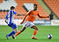Blackpool's CJ Hamilton battles with Wigan Athletic's Chris Merrie<br /> <br /> Photographer Dave Howarth/CameraSport<br /> <br /> The EFL Sky Bet League One - Blackpool v Wigan Athletic - Tuesday 3rd November 2020 - Bloomfield Road - Blackpool<br /> <br /> World Copyright © 2020 CameraSport. All rights reserved. 43 Linden Ave. Countesthorpe. Leicester. England. LE8 5PG - Tel: +44 (0) 116 277 4147 - admin@camerasport.com - www.camerasport.com