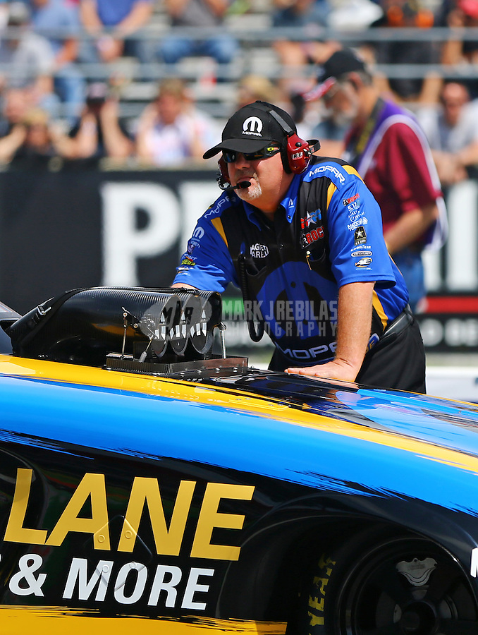 Jun 6, 2015; Englishtown, NJ, USA; Dickie Venables crew chief for NHRA funny car driver Matt Hagan during qualifying for the Summernationals at Old Bridge Township Raceway Park. Mandatory Credit: Mark J. Rebilas-
