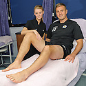 Queen of the South player Ryan McGuffie receives a leg massage from Claire Hendry from Cumbernauld College as a treat for putting Rangers out of the Ramsden Cup ...