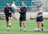 Pia Sundhage, Dawn Scott, Erica Walsh. The USWNT practice at WakeMed Soccer Park in preparation for their game with Japan.