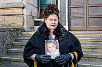 COPY BY TOM BEDFORD<br /> Pictured: Brandy Clark, holds a picture of her grand daughter Ellie-May the end of the inquest outside Newport Coroner's Court. Monday 26 February 2018<br /> Re: Inquest held at Newport Coroner's Court, into the death of five year old Ellie-May Clark who died of an asthma attack, after being refused a GP appointment in Newport, south Wales. <br /> Dr Joanne Rowe refused to see her, on the grounds that her mother was a few minutes late for a booked appointment.<br /> A few hours later, Ellie-May Clark suffered a seizure and died, despite the efforts of an ambulance crew.