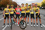 Race winner Primoz Roglic (SLO) and Team Jumbo-Visma line up for the cameras at the end of Stage 18 of the Vuelta Espana 2020, running 139.6km from Hipódromo de La Zarzuela to Madrid, Spain. 8th November 2020. <br /> Picture: Luis Angel Gomez/PhotoSportGomez | Cyclefile<br /> <br /> All photos usage must carry mandatory copyright credit (© Cyclefile | Luis Angel Gomez/PhotoSportGomez)