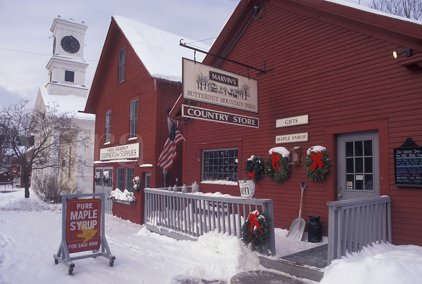 AJ4697, country store, winter, Vermont, Scenic village and Marvin's Country Store on a winter day in Johnson in Lamoille County in the state of Vermont.