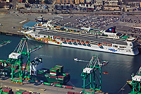aerial photograph of the Pride of Hawaii, Norwegian Cruise Lines cruise ship docked at the Port of Long Beach, Long Beach, Los Angeles County, California
