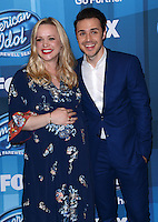 Kris Allen + wife Katy O'Connell @ the American Idol Farewell Season finale held @ the Dolby Theatre.<br /> April 7, 2016