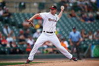 Rochester Red Wings starting pitcher Logan Darnell (15) delivers a pitch during a game against the Pawtucket Red Sox on June 29, 2016 at Frontier Field in Rochester, New York.  Pawtucket defeated Rochester 3-2.  (Mike Janes/Four Seam Images)