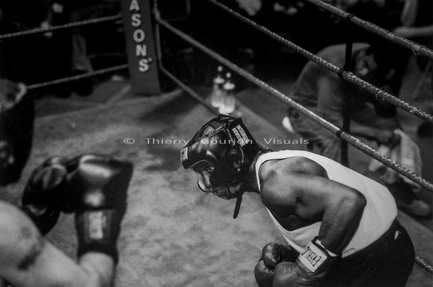 """White Collar"" fight at Gleason's Gym in Brooklyn, New York.<br />Photograph by Thierry Gourjon-Bieltvedt. 1995-2005"