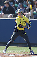 Tyler Baumgartner #13 of the Oregon Ducks bats against the Loyola Marymount Lions at Page Stadium on February 23, 2014 in Los Angeles, California. Oregon defeated Loyola, 4-3. (Larry Goren/Four Seam Images)