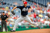 5 July 2009: Atlanta Braves' relief pitcher Boone Logan on the mound against the Washington Nationals at Nationals Park in Washington, DC. The Nationals defeated the Braves 5-3, to take the rubber game of their 3-game weekend series. Mandatory Credit: Ed Wolfstein Photo