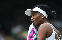 Venus Williams (USA) during her match against Cori Gauff (USA) in their Ladies' Singles First Round match<br /> <br /> Photographer Rob Newell/CameraSport<br /> <br /> Wimbledon Lawn Tennis Championships - Day 1 - Monday 1st July 2019 -  All England Lawn Tennis and Croquet Club - Wimbledon - London - England<br /> <br /> World Copyright © 2019 CameraSport. All rights reserved. 43 Linden Ave. Countesthorpe. Leicester. England. LE8 5PG - Tel: +44 (0) 116 277 4147 - admin@camerasport.com - www.camerasport.com