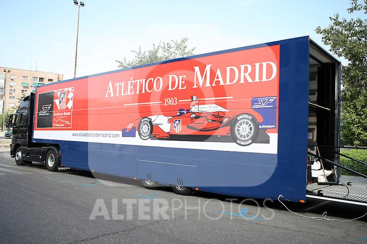 Atletico de Madrid's Superleague Formula truck. September 01 2009. (ALTERPHOTOS/Acero).