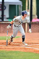 Princeton Rays center fielder Grant Witherspoon (5) runs to first base during game two of the Appalachian League Championship Series against the Elizabethton Twins at Joe O'Brien Field on September 5, 2018 in Elizabethton, Tennessee. The Twins defeated the Rays 2-1 to win the Appalachian League Championship. (Tony Farlow/Four Seam Images)