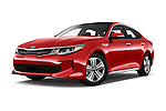 Stock pictures of low aggressive front three quarter view of 2018 KIA Optima EX-Hybrid 4 Door Sedan Low Aggressive