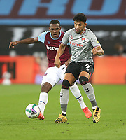 Charlton Athletic's Macauley Bonne and West Ham United's Issa Diop<br /> <br /> Photographer Rob Newell/CameraSport<br /> <br /> Carabao Cup Second Round Northern Section - West Ham United v Charlton Athletic - Tuesday 15th September 2020 - London Stadium - London <br />  <br /> World Copyright © 2020 CameraSport. All rights reserved. 43 Linden Ave. Countesthorpe. Leicester. England. LE8 5PG - Tel: +44 (0) 116 277 4147 - admin@camerasport.com - www.camerasport.com