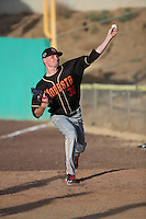 Sam Howard (32) of the Modesto Nuts throws in the bullpen before pitching against the High Desert Mavericks at Heritage Field on June 3, 2016 in Adelanto, California. Modesto defeated High Desert, 2-1. (Larry Goren/Four Seam Images)