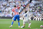 Real Madrid's Luka Modric and Atletico de Madrid's Yannick Carrasco during La Liga match between Real Madrid and Atletico de Madrid at Santiago Bernabeu Stadium in Madrid, April 08, 2017. Spain.<br /> (ALTERPHOTOS/BorjaB.Hojas)