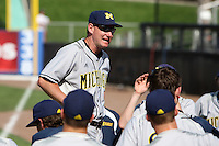 Rich Maloney #2 of the Michigan Wolverines talks to his team after a game vs the New York Mets in an exhibition at Digital Domain Ballpark in Port St Lucie, Florida;  February 27, 2011.  New York defeated Michigan 7-1.  Photo By Mike Janes/Four Seam Images