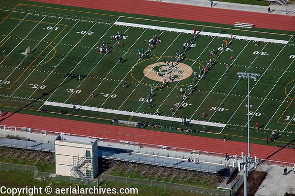 aerial photograph of the Casa Grande football field, Petaluma, Sonoma county, California