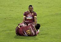 IBAGUE- COLOMBIA, 28-04-2021: Jaminton Campaz of Deportes Tolima (COL) celebra el gol anotado a Talleres de Cordoba (ARG), durante partido entre Deportes Tolima (COL) y Talleres de Cordoba (ARG) por la Copa CONMEBOL Sudamericana 2021 en el Estadio Manuel Murillo Toro de la ciudad de Ibague. / Jaminton Campaz of Deportes Tolima (COL) celebrates the scored goal to Talleres de Cordoba (ARG), during a match beween Deportes Tolima (COL) and Talleres de Cordoba (ARG) for the CONMEBOL Sudamericana Cup 2021 at the Manuel Murillo Toro Stadium, in Ibague city.  Photo: VizzorImage / Juan Torres / Cont.
