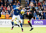 St Johnstone v Rangers…11.09.21  McDiarmid Park    SPFL<br />James Brown and Ryan Kent<br />Picture by Graeme Hart.<br />Copyright Perthshire Picture Agency<br />Tel: 01738 623350  Mobile: 07990 594431