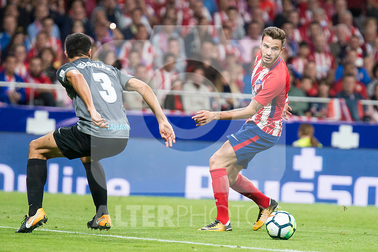 Atletico de Madrid's Saul Niguez and Malaga's Diego Gonzalez during La Liga match between Atletico de Madrid and Malaga CF at Wanda Metropolitano in Madrid, Spain September 16, 2017. (ALTERPHOTOS/Borja B.Hojas)