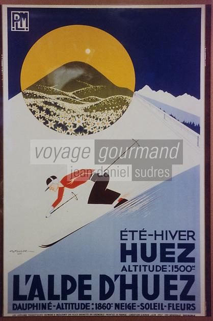 Europe/France/Rhône-Alpes/38/Isère/l'Alpe-d'Huez: Musée d'Huez et de l'Oisans - Vieille affiche sur la sation - skieur