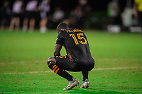 LAKE BUENA VISTA, FL - JULY 23: Maynor Figueroa #15 of the Houston Dynamo after the game during a game between Los Angeles Galaxy and Houston Dynamo at ESPN Wide World of Sports on July 23, 2020 in Lake Buena Vista, Florida.