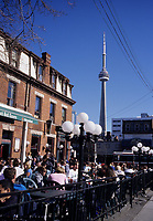 Toronto (ON) CANADA, April 19, 2007<br /> <br /> People fill up terrasses on Queen Street West on the first warm day of the year , in Toronto.<br /> <br /> Over the subsequent days, temperature reached above 25 C<br /> <br /> <br /> photo by Pierre Roussel - Images Distribution