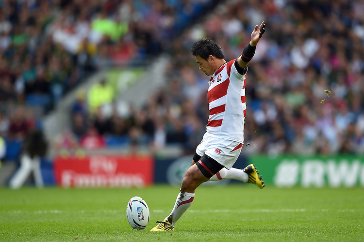 Ayumu Goromaru of Japan kicks for the posts. Rugby World Cup Pool B match between South Africa and Japan on September 19, 2015 at the Brighton Community Stadium in Brighton, England. Photo by: Patrick Khachfe / Stewart Communications