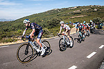 The breakaway during Stage 14 of La Vuelta d'Espana 2021, running 165.7km from Don Benito to Pico Villuercas, Spain. 28th August 2021.     <br /> Picture: Unipublic/Charly Lopez   Cyclefile<br /> <br /> All photos usage must carry mandatory copyright credit (© Cyclefile   Charly Lopez/Unipublic)