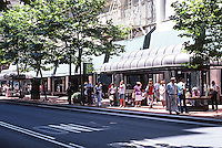 """Portland: One of two Tri-Met Transit """"Malls""""--SW 5th; the other is 6th, eleven blocks, 1975. (Meier & Frank Store behind.)"""