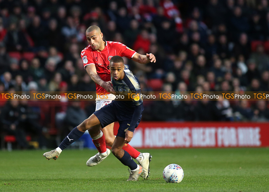 Elliot Simoes of Barnsley in possession of the ball as Charlton's Darren Pratley looks on during Charlton Athletic vs Barnsley, Sky Bet EFL Championship Football at The Valley on 1st February 2020