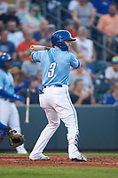 Omaha Storm Chasers Kyle Isbel (3) at bat during a game against the Iowa Cubs on August 14, 2021 at Werner Park in Omaha, Nebraska. (Zachary Lucy/Four Seam Images)