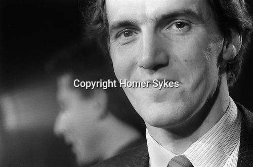Simon Hughes, Liberal party, Bermondsey by-election South London 1983, he has just won. Peter Tatchell out of focus in background. ..