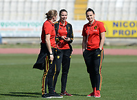 20180307 - LARNACA , CYPRUS :  Belgian Justien Odeurs , Silke Vanwynsberghe and Nicky Evrard (r) pictured during a women's soccer game between  South Africa and the Belgian Red Flames  , on Wednesday 7 March 2018 at the GSZ Stadium in Larnaca , Cyprus . This is the final game in a decision for 5th or 6th place for Belgium during the Cyprus Womens Cup , a prestigious women soccer tournament as a preparation on the World Cup 2019 qualification duels. PHOTO SPORTPIX.BE | DAVID CATRY