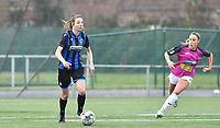 Nicky Van Den Abbeele (28 Brugge) pictured with Aalst's Daisy Baudewijns during a female soccer game between Club Brugge Dames YLA and Eendracht Aalst Ladies on the 9 th matchday of the 2020 - 2021 season of Belgian Scooore Womens Super League , saturday 12 December 2020  in Brugge , Belgium . PHOTO SPORTPIX.BE | SPP | DAVID CATRY