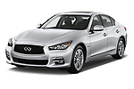 2017 Infiniti Q50 Hybrid-Premium 4 Door Sedan Angular Front stock photos of front three quarter view
