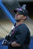 D'Angelo Jimenez of the Cincinnati Reds during a 2003 season MLB game at Dodger Stadium in Los Angeles, California. (Larry Goren/Four Seam Images)