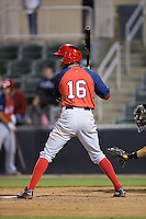 Victor Robles (16) of the Hagerstown Suns at bat against the Kannapolis Intimidators at Kannapolis Intimidators Stadium on May 6, 2016 in Kannapolis, North Carolina.  The Intimidators defeated the Suns 5-3.  (Brian Westerholt/Four Seam Images)