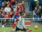 Atletico de Madrid's Yannick Ferreira Carrasco (l) and Espanyol's Pau Lopez during La Liga match. November 28,2015. (ALTERPHOTOS/Acero)