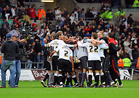 ATTENTION SPORTS PICTURE DESK<br /> Pictured: Swansea City celebrate at full time <br /> Re: Coca Cola Championship, Swansea City Football Club v Cardiff City FC at the Liberty Stadium, Swansea, south Wales. Saturday 07 November 2009
