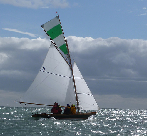 The 1907-built Howth 17 Deilginis, winner of the 2020 Lambay Race, has undergone many restorations…Photo: W M Nixon