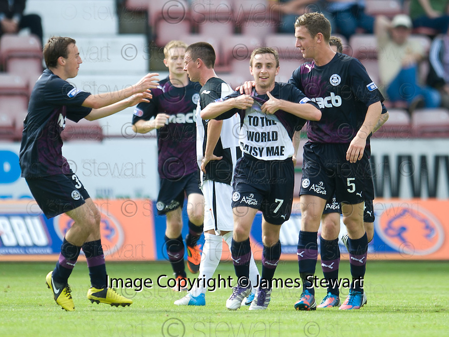 Steven Lawless celebrates after he scores Partick's first.