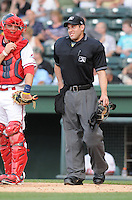 Umpire Dan Merzel in a game between the Savannah Sand Gnats and the Greenville Drive on May 29, 2012, at Fluor Field at the West End in Greenville, South Carolina. (Tom Priddy/Four Seam Images)