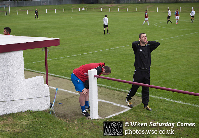 Whitehill Welfare 4 Gala Fairydean Rovers 2, 10/08/2013. Ferguson Park, Scottish Lowland Football League. Gala Fairydean Rovers manager Steven Noble (in black) shows his frustration during his team's inaugural match in the Scottish Lowland Football League away to Whitehill Welfare at Ferguson Park. Gala were formed in 2013 by an a re-amalgamation of Gala Fairydean and Gala Rovers, the two clubs having separated in 1908 and Gala's Netherdale ground in Galashiels in the Scottish Borders had one of only two stands designated as listed football stands in Scotland. Whitehill won the match, the first-ever in the newly-formed Lowland League by 4 goals to 2. Photo by Colin McPherson.