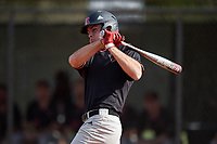 Rutgers Scarlet Knights second baseman Dan DiGeorgio (5) at bat during a game against the Indiana Hoosiers on February 23, 2018 at North Charlotte Regional Park in Port Charlotte, Florida.  Indiana defeated Rutgers 7-6.  (Mike Janes/Four Seam Images)