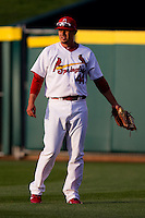 Allen Craig (44) of the St. Louis Cardinals plays for the Springfield Cardinals during his injury rehab.He played right field during a game against the Tulsa Drillers on April 29, 2011 at Hammons Field in Springfield, Missouri.  Photo By David Welker/Four Seam Images.