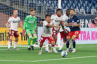 FOXBOROUGH, MA - JUNE 26: Michael Maldonado #15 of North Texas SC moves to clear the ball from the North Texas SC goal during a game between North Texas SC and New England Revolution II at Gillette Stadium on June 26, 2021 in Foxborough, Massachusetts.