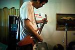 July 14, 2008. Carrboro, NC.. Triangel band, Caltrop, at their practice space in Carrboro, NC.